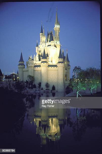 exterior of Cinderella's Castle lit up at night and reflected in artificial stream