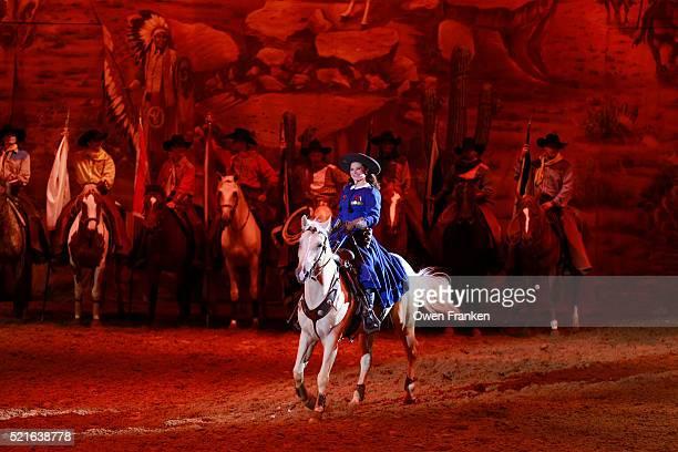 Disneyland, Paris -Euro Disney - the Buffalo Bill Wild West ShowAnnie Oakley riding a horse