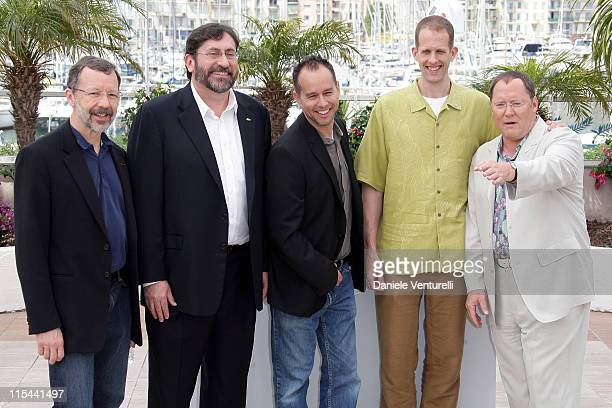 Disney/Pixar's Ed Catmull codirector Bob Peterson producer Jonas Rivera codirector Pete Docter and executive producer John Lasseter attend the 'Up'...