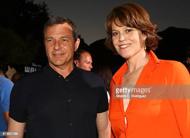 Disney's Bob Iger and actress Sigourney Weaver arrive at the world premiere of DisneyPixar's film WallE held at the Greek Theater on June 21 2008 in...