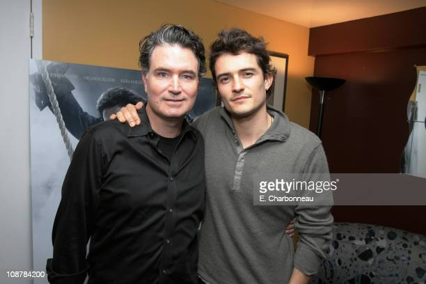 Disney's Dennis Rice and Orlando Bloom during The El Capitan Theater host Pirates Ultimate Fan Event Fans will be first in the world to see trailer...