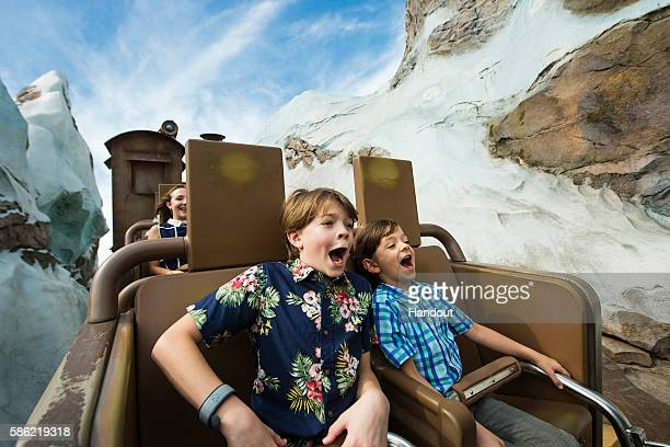 Disney's Pete's Dragon star Oakes Fegley rides Expedition Everest coaster with his brother at Disney's Animal Kingdom August 3 2016 in Lake Buena...