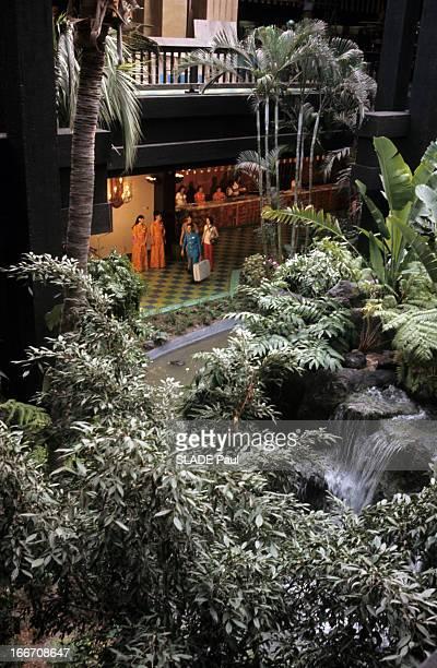 Disneyworld Park In Orlando Florida En Floride au parc de Disneyworld un décor polynésien avec des palmiers des cascades dans une végétation...