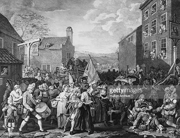 A disordered gathering of British troops at Tottenham Court Road for the march north to Finchley during the Second Jacobite Rebellion of 1745 An...