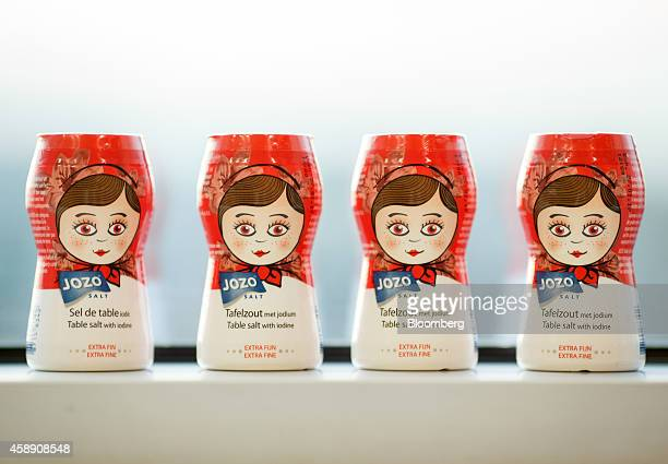 Dispenser jars of Jozo salt manufactured by Akzo Nobel NV sit on display at the company's headquarters in Amsterdam Netherlands on Thursday Nov 13...