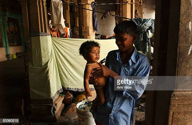 Displaced children live in a temple since the deadly tsunami destroyed their village one month ago January 25 2005 in Nagapattinum Tami Nadu India 30...