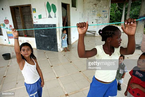 Displaced children play at Hacienda Napoles the favored recreation home of the late infamous drug lord Pablo Escobar near Puerto Triunfo Colombia...