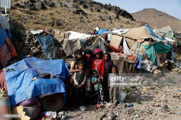 Displaced children who fled their homes due to the war are seen at a camp on July 22, 2019 in the outskirts of Sana'a, Yemen. As a result of the over...