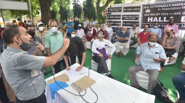 IND: Displaced Kashmiri Family Members Hold Protest At Jantar Mantar
