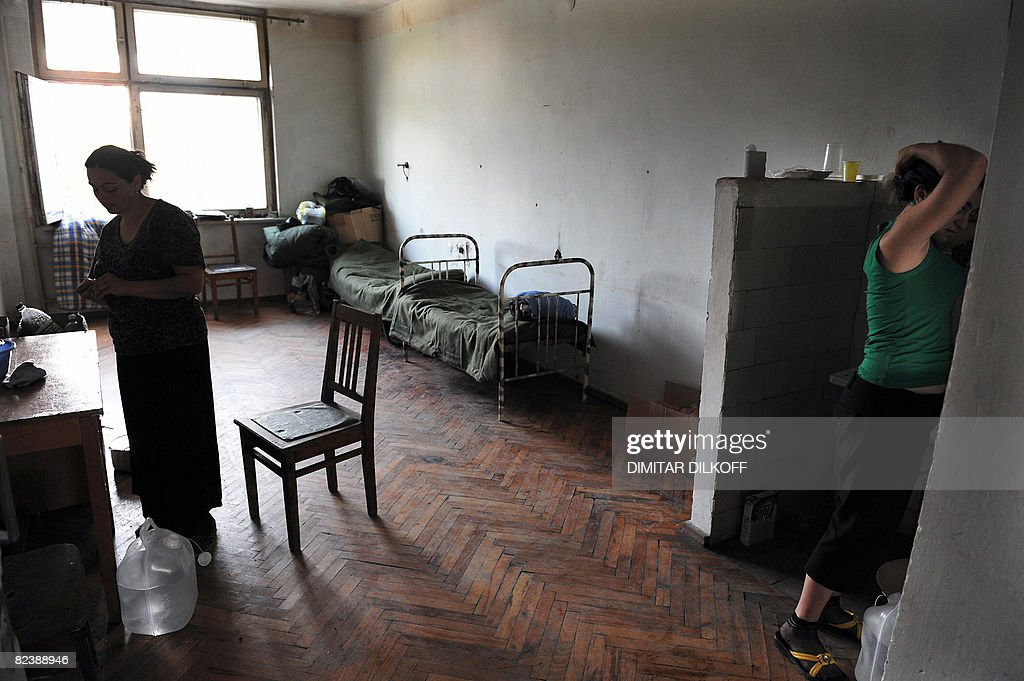 Displaced Georgian women are pictured in : News Photo