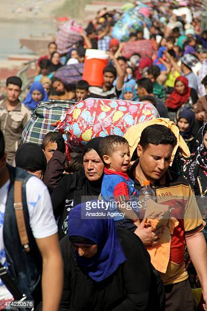 Displaced Iraqis forced to flee their homes as DAESH militants consolidate their gains in Anbar make their way to Baghdad by crossing the Bzebiz...