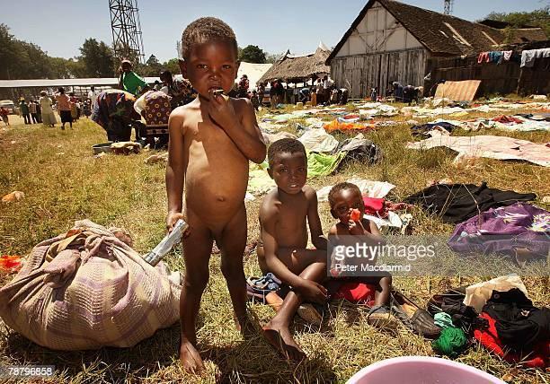 Displaced Kikuyu children eat some fruit at the Nakuru show ground on January 7 2008 in Nakuru Kenya Local volunteers and charities are helping...