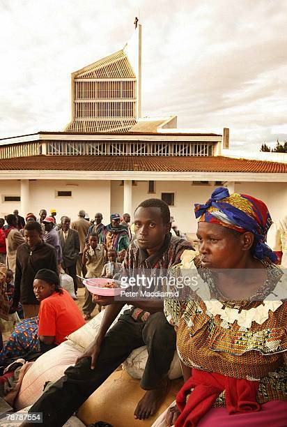 Displaced Kikuyu people stay in the grounds of Eldoret Cathedral on January 5 2008 in Western Kenya These Kikuyu people have been forced from their...