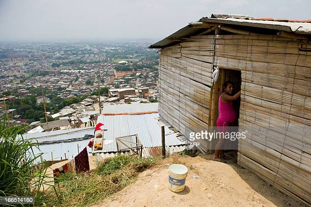 A displaced Nasa indigenous woman is seen in a settlement in a mountainous area in Cali Valle del Cauca department Colombia on April 13 2013 The ONIC...