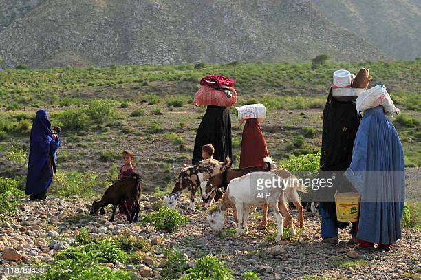 A displaced Pakistani Family flees on July 9 2011 the Kohe Safid military operation against aliban militants in central part of Kurram Agency...