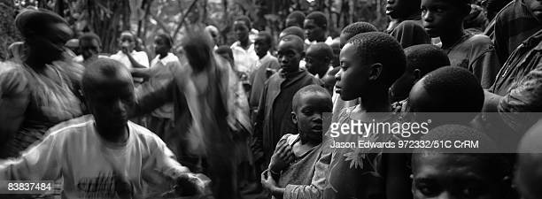 Displaced pygmy Batwa forest people living in a banana plantation Kisoro District Western Uganda