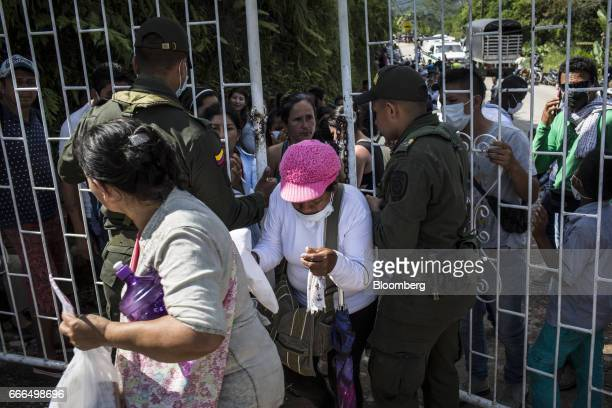 Displaced residents enter La Ascension Normandia cemetery after landslides in Mocoa Putumayo Colombia on Monday April 3 2017 Torrential rains caused...