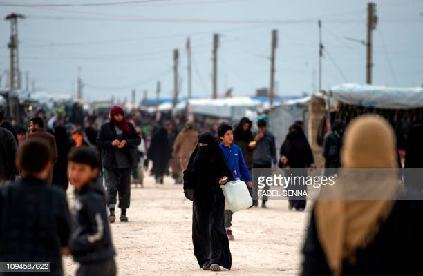 Displaced Syrians at the Internally Displaced Persons camp of alHol in alHasakeh governorate in northeastern Syria on February 6 2019