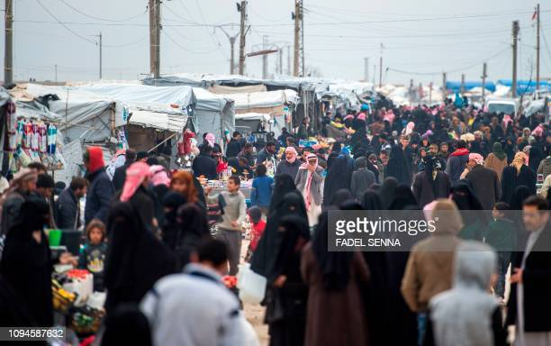Displaced Syrians at the Internally Displaced Persons camp of al-Hol in al-Hasakeh governorate in northeastern Syria on February 6, 2019.
