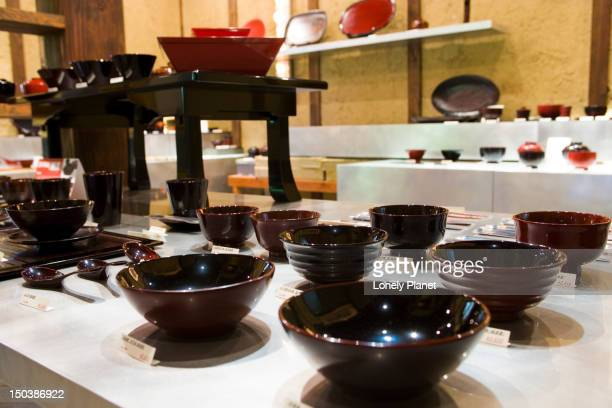 Display at Hachiyaa Lacquerware, Kitaoji Area.