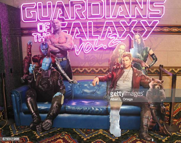 Display at the El Capitan Theatre Hosts Screening Of Disney And Marvel Studios' Guardians Of The Galaxy Vol 2 held at El Capitan Theatre on May 4...