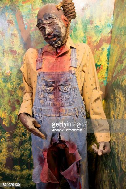 A display at the National Great Blacks in Wax Museum depicts scenes from historical lynchings November 12 in Baltimore Maryland The museum has wax...