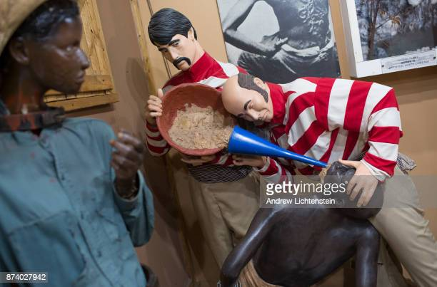 A display at the National Great Blacks in Wax Museum depicts slave traders force feeding a captured slave while crossing the Middle Passage November...