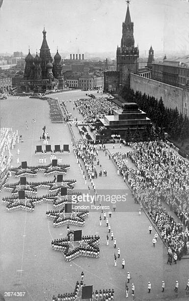 A display by more than 40000 young people belonging to various athletic clubs of the USSR republics in Red Square Moscow Members of the 'Locomotive'...