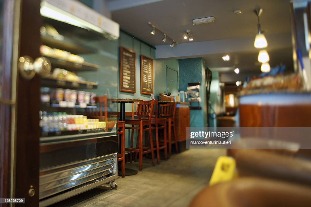 Display case and furniture in interior of cafe : Stock Photo