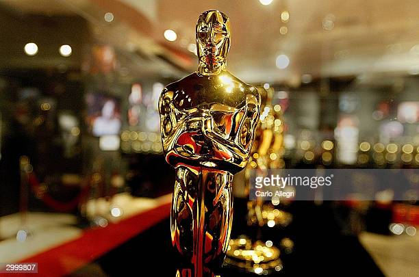 Display case is seen full of Oscar statues February 20, 2004 in Hollywood, California. These are the Oscar statuettes that will be handed out on...