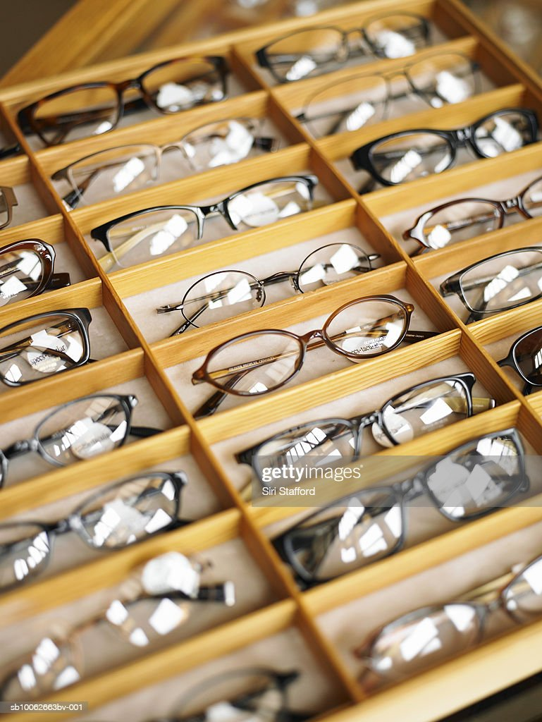 Display case of eyeglasses, close-up, high angle view : Stock Photo