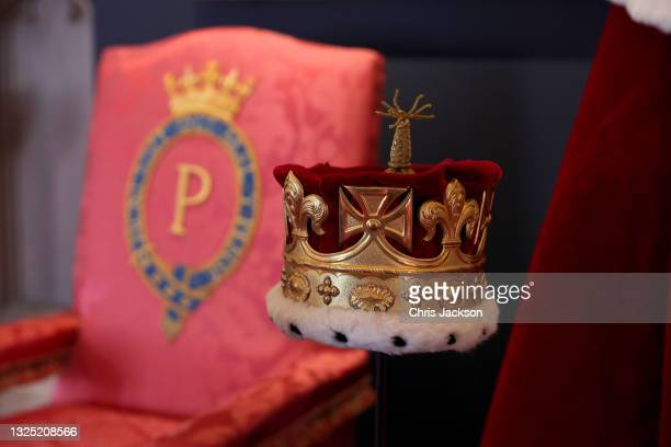Display centered around the coronation of Prince Philip in the Great Hall of Windsor Castle at an exhibition that commemorates the life and work of...