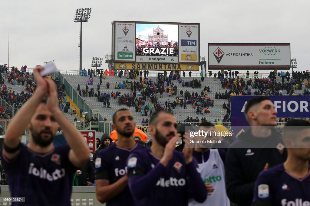 A display for ACF Fiorentina thanked the fans at the end of the game during the serie A match between ACF Fiorentina and Benevento Calcio at Stadio Artemio Franchi on March 11, 2018 in Florence, Italy.
