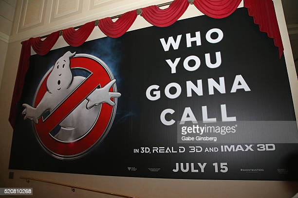 A display for the movie Ghostbusters hangs ouside of the Sony Pictures Entertainment's exclusive product presentation highlighting 2016 films at The...