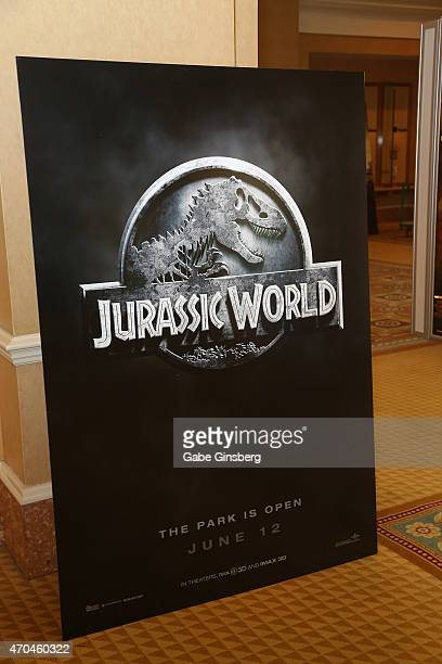 A display for the movie Jurassic World at CinemaCon at Caesars Palace on April 20 2015 in Las Vegas Nevada