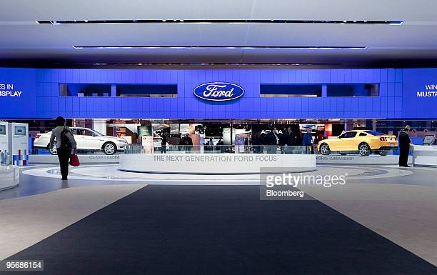 A display for the new 2011 Ford Focus sits empty before the car's unveiling on day one of the 2010 North American International Auto Show in Detroit...