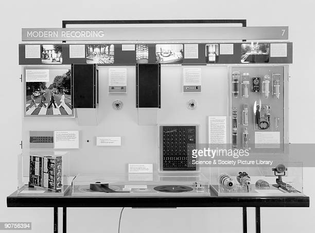 Display from �A Century of Recorded Sound� exhibition showing equipment used at EMI�s Abbey Road Studios where the Beatles recorded the album �Abbey...