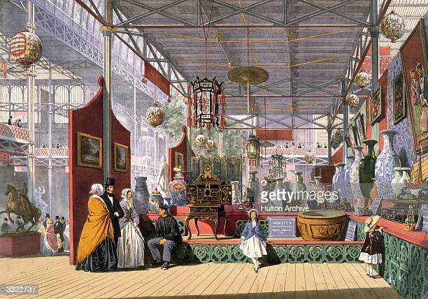 A display from China at the Great Exhibition in Crystal Palace the glass and iron building designed by Joseph Paxton at Hyde Park London Original...