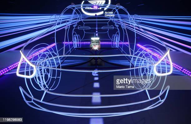 A display highlights Mobileye's autonomous driving technology at CES 2020 at the Las Vegas Convention Center on January 8 2020 in Las Vegas Nevada...