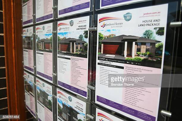 A display home displays properties for sale in Edmondson Park on April 28 2016 in Sydney Australia A report by The Grattan Institute release on...