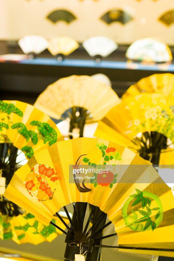 Display in Miyawaki folding fan shop. : Stock Photo