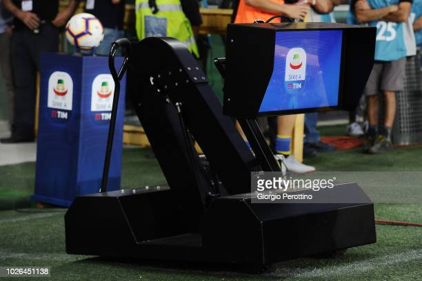 VAR display is seen prior to the serie A match between Frosinone Calcio and Bologna FC at Olimpico Stadium on August 26 2018 in Turin Italy
