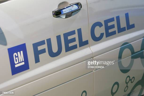 Display of a General Motors fuel cell concept vehicle 15 January 2008 at the North American International Auto Show in Detroit Michigan AFP...