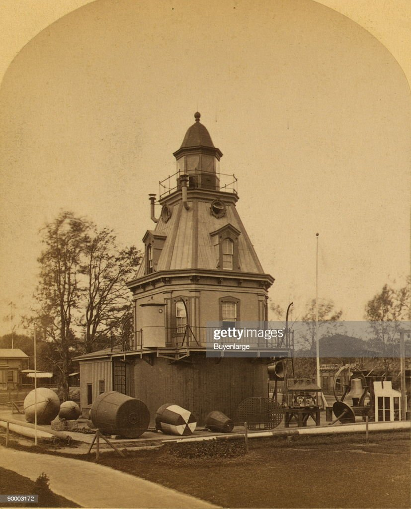 Display of a light house and buoys at the 1876 International Exhibition, Philadelphia