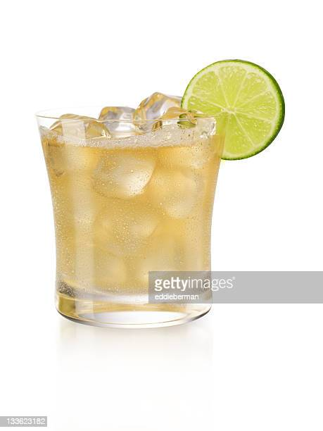 Display of a margarita on the rocks with a slice of lime