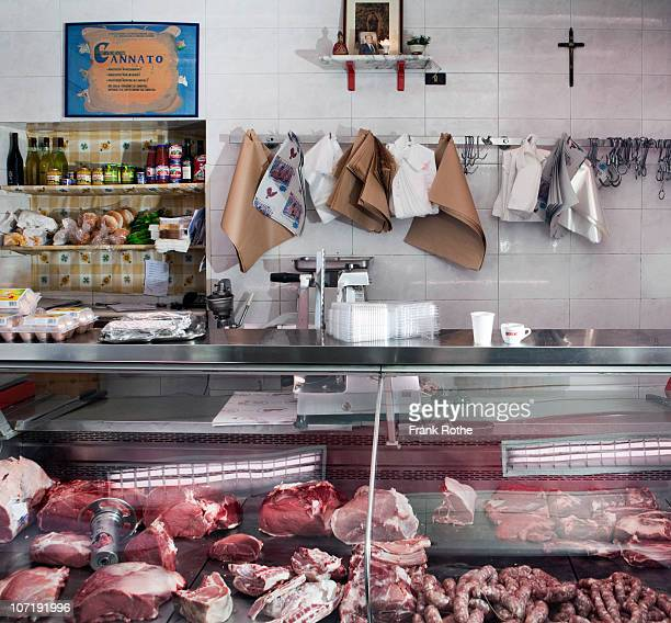 display of a small classical butcher shop  - butcher's shop stock pictures, royalty-free photos & images