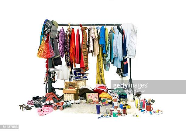 display of a woman's possessions - clothes rack stock pictures, royalty-free photos & images