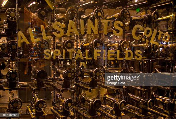 A display of antique Singer sewing machines in the All Saints store located in the Cosmopolitan Hotel Casino is viewed on December 26 2010 in Las...