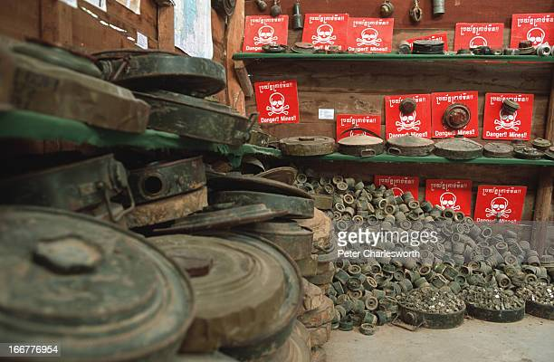 Display of anti-tank and anti-personnel land mines at the Landmine Museum near Siem Reap. The museum was built by Aki Ra, a Khmer who has fought for...