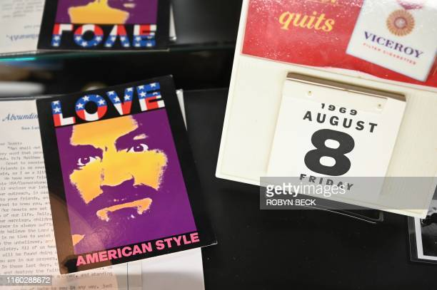 A display of artifacts related to the Manson Family murders of 1969 are displayed at the Dearly Departed Tours and Artifact Museum in Los Angeles on...